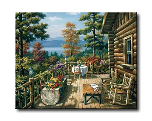 Shukqueen Diy Oil Painting, Adult's Paint by Number Kits, Acrylic Painting-Log Cabin 16X20 Inch (Frameless)