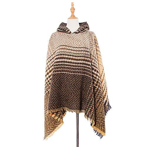 Jilibaba Umhang mit Kapuze, dick, warm, Übergröße, für Damen, Winterfarbe 6