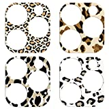 YDY Camera Lens Protector for iPhone 12 Pro Camera Cover Sticker, Clear Tempered Glass Soft Camera Protector Anti-Scratch Lens Protector -4PCS (leoprad)