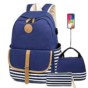 FLYMEI Cute Backpack for Women, School Backpack for Girls Fashion Bookbag for Women 15.6'' Laptop Back Pack with USB Charging Port, Lightweight Blue Bookbag Casual Girl Backpack