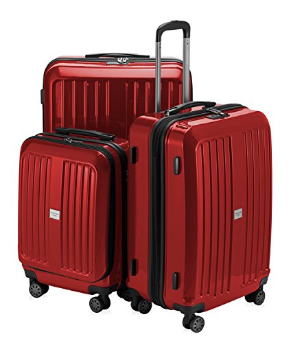 HAUPTSTADTKOFFER - X-Berg - 3er Koffer-Set Hartschalen-Koffer Koffer Trolley Rollkoffer Reisekoffer, TSA, (S, M & L) Rot glänzend