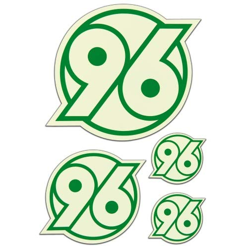 Hannover 96 Aufkleber - Logo Leuchtend - 4er Set, Sticker, Autoaufkleber, Aufkleberkarte H96 - Plus Lesezeichen I Love Hannover
