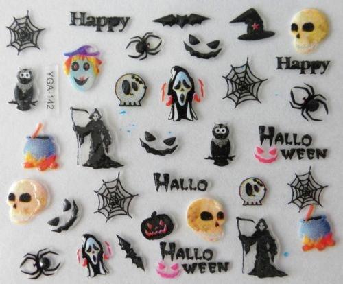 NC Nail Art Autocollants Stickers Ongles Scrapbooking décorations Halloween têtes de Mort Toiles d'araignée hiboux