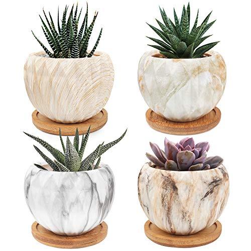 sukkulenten echte Pflanzen töpfe, übertöpfe für zimmerpflanzen sukkulenten Topf blumentopf klein blumentöpfe 4er-Set mit Bambusschale