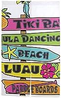 TINZZEROS のれん おしゃれ ハワイのサインポスト 脱衣所 倉庫 和室でも 料理屋 ロングカーテン 片面に印刷 多色 大人 漫画 突っ張り棒付き 幅85㎝×丈120㎝