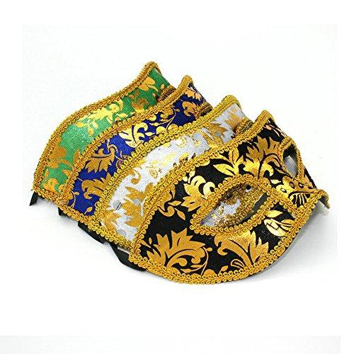 Baanuse 4Pcs Herren Venetianische Maskerade Maske Karneval Kostüm Fasching Verkleidung A