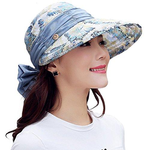 Yimidear® Faltbare Sommer Sonnenhut Weiblicher Hut Baseball Kappe Frauen Anti-UV Hut (Blue Gray)