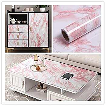 Yancorp White Red Marble Wallpaper Self-Removable Wallpaper Film Self-Adhesive Vinyl Kitchen Peel and Stick Wallpaper Backsplash Countertop Covers  White Red 16 x120