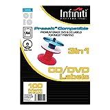 Infiniti - Etichette vuote per CD, formato A4, confezione da 100