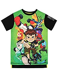 Kids Ben 10 T-Shirt Featuring Ben 10 and the alien heroes on the front with a slogan on the back This Ben 10 tee features a mainly green print with black sleeves and a dipped hem at the back Perfect to wear on Earth or in space! Officially licensed B...
