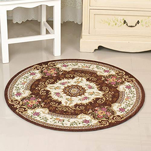 D&LE Traditional European Round Carpet Flowers Rug Simple Modern Living Room Coffee Table Bedside Computer Chair Floor Mat-brown Diameter 90cm(35inch)