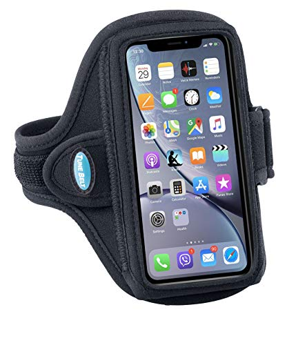 Tune Belt Model AB91 Armband for iPhone 11, 11 Pro Max, Xs Max, Xr, 7/8 Plus, Samsung Note 9 10 10+, Galaxy S8+ S9+ S10+, Google Pixel 3XL, 3aXL - for Running & Working Out - Sweat-Resistant (Black)
