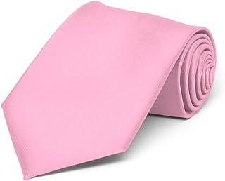TieMart Boys' Pink Solid Color Necktie