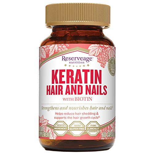 Reserveage, Keratin Hair and Nails, Beauty Supplement, Helps Strengthen and Nourish Hair and Nails with Biotin, Gluten Free, 60 Capsules (30 Servings)
