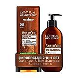 L'Oréal Men Expert 2-in-1-Set für Männer mit 3-in-1 Bartshampoo und XXL-Duschgel, Barber Club,...
