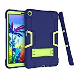 Koolbei Case for LG G Pad 5 10.1' Case 2019,Heavy-Duty Drop-Proof and Shock-Resistant Rugged Hybrid case with Built-in Stand , for LG G Pad 5 10.1 inch FHD Tablet 2019 (Navy Blue+Green)