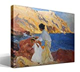 Cuadro Canvas Clotilde y Elena en Las Rocas, Jávea, óleo Sobre Lienzo de Joaquín Sorolla y Bastida