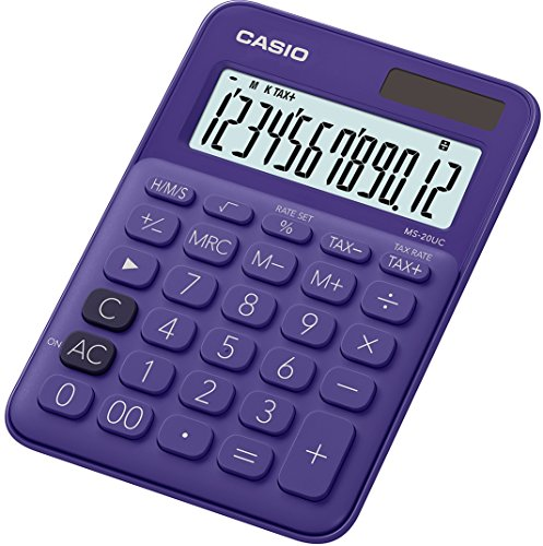CASIO Tischrechner MS-20UC-PL, 12-stellig, in Trendfarben, Steuerberechnung, Zeitumrechnung, Solar-/Batteriebetrieb
