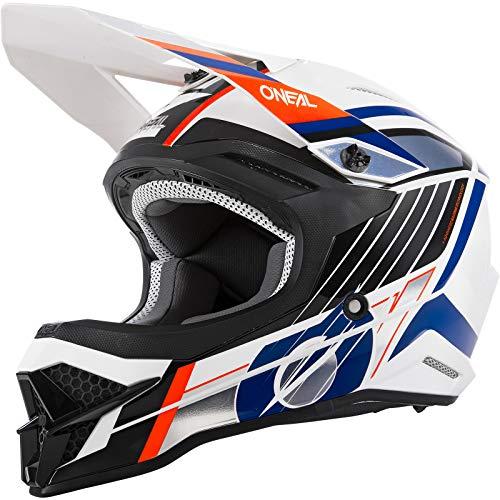 O'NEAL   Casco de Motocicleta   Moto Enduro   Normas de Seguridad ECE 22.05 respiraderos para una óptima ventilación y refrigeración   Casco 3SRS Vision   Adultos   Naranja Blanca   Talla XXL