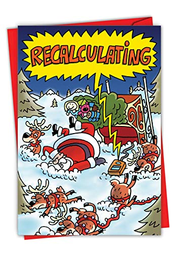 NobleWorks, Recalculating - Funny Christmas Note Card with Envelope - Santa and Reindeer Sled GPS, Xmas Cartoon Comic 5759