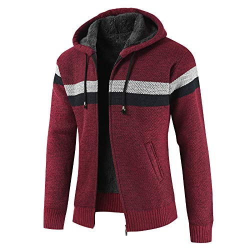 Cárdigan de suéter para Hombre, Color a Juego en otoño e Invierno, más Chaqueta de suéter con Capucha y cordón Grueso de Terciopelo, suéter Informal cálido 3XL