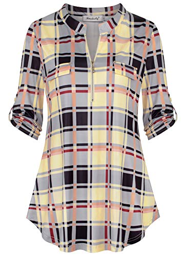 Ninedaily Fall Clothes, Women's 3/4 Sleeve Roll up Shirts Zip Floral Casual Tunic Blouse Tops,BlackGrayBeige Size M