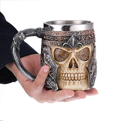 Tauzveok Jarra Taza Cerveza cráneo Resina Acero Inoxidable con asa,para Bebidas alcohólicas Cerveza Whisky Bourbon Hard seltzer Vodka Wine-Fiesta Bar Decoración hogar,450ml/15oz,14x8.5x11cm