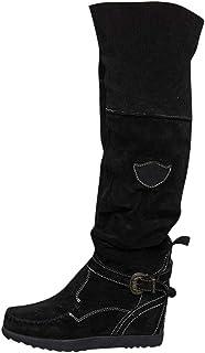 Donna Tacco Allungare Lungo sopra Il Ginocchio Equitazione vestibilità Ampia Alto Stivali Lunghi Casual Shoes