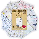 Baby-Musselin aus weicher und organischer Baumwolle für Kinder und Babys. Ideal als Handtuch, Bettlaken für Kinderbetten. 100 % antiallergisch, 120 x 120 cm. Geschenkverpackung (Doppelherz)