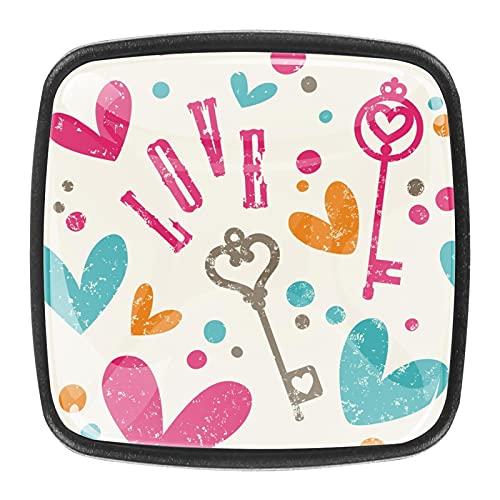 (4 piezas) pomos de cajón para cajones, tiradores de cristal para gabinete, hogar, oficina, armario, colorido patrón de llave de amor de 35 mm