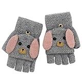 RARITY-US (2-8Y) Convertible Flip Top Gloves, Knit Winter Warm Fingerless Half Finger Mittens for Kids Boys Girls