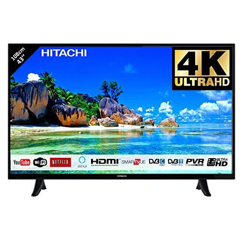 Hitachi Téléviseur LED 43' 107,9cm 4K Ultra HD avec Alexa/Smart TV: Netflix, Youtube, Prime/WiFi -...