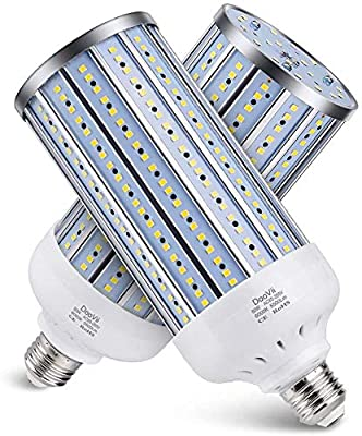 2-Pack DooVii 450W Equivalent LED Corn Bulb,5500 Lumen 6000K,Cool Daylight LED Street and Area Light,E26/E27 Medium Base,for Outdoor Indoor Garage Warehouse High Bay Barn Backyard and More