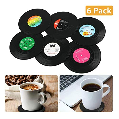 NNYCC Porte-Boissons Coupe, 6Pcs Coaster Ronde Groovy Record De La Coupe Boissons Porte-Mat Arts De La Table Set De Table
