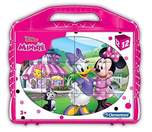 Clementoni Mouse Minnie Rompecabezas maletín 12 cubos, mult