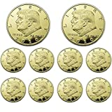 10 Pack 2020 Donald Trump Gold Plated Coins with Stands, President Eagle Seal Commemorative Gift