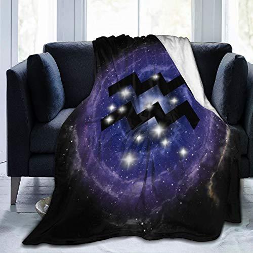 UKFaaa Manta de Forro Polar Aquarius Zodiac Constellation en Color Azul Nebulosa Ultra Suave Terciopelo Manta de Forro Polar, Microfibra, Negro, 80