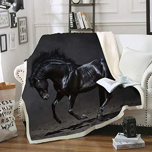 Blanket Direct Super Soft Twin Full Size Horse blanket Plush Fleece blanket, 60  x 80  (Horse)