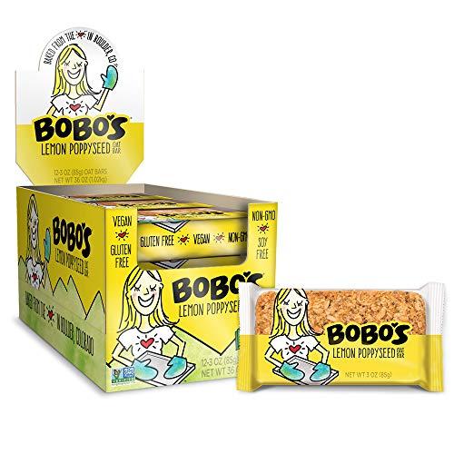 Bobo's Oat Bars (Lemon Poppyseed, 12 Pack of 3 oz Bars) Gluten Free Whole Grain Rolled Oat Bars - Great Tasting Vegan On-The-Go Snack, Made in the USA