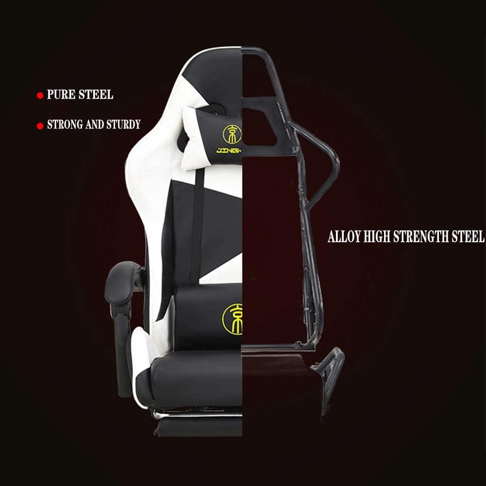 AIMCAE Chaise Gaming électrique Massage Lombaire Accoudoir 3D Inclinable Chaise de Bureau à Haut Dossier et Repose-Pieds télescopique,Noir Pink