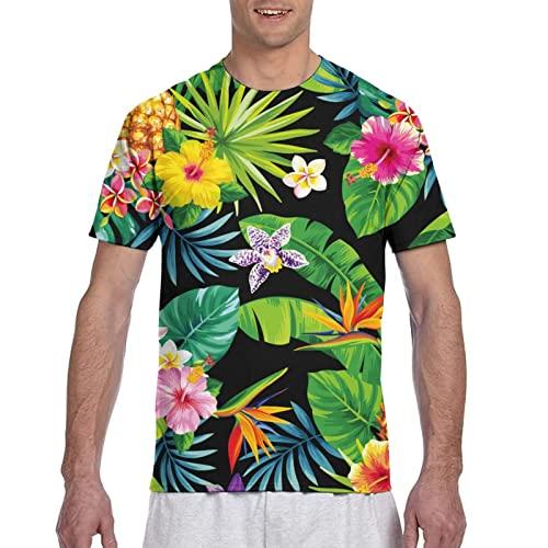 The Cow Grain - Camiseta de manga corta con estampado en 3D para hombre, Flor hawaiana, L