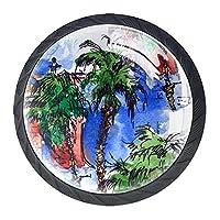 引き出しノブプルハンドル4個 クリスタルガラスのキャビネットの引き出しは食器棚のノブを引っ張る,ヤシのパターンの層状の葉