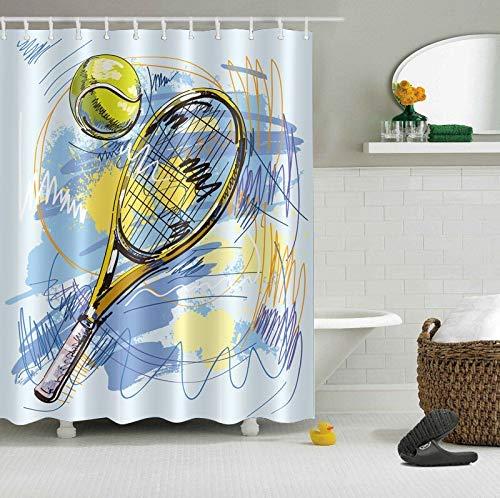 /N Raqueta de Tenis Ducha de Tenis Cortina de Ducha Impermeable Material de poliéster Lavable a máquina baño Esencial
