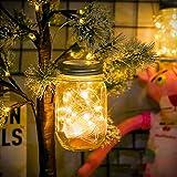 Lámparas Solares Exterior,Juego de 1 Luz Solar Jardín, 30LED Lámpara Solar Mason Jar Set Lámpara Ahorro de Energía e Impermeable para Decoración Jardín Fiesta Balcón Vacaciones Bodas (Color cálido)