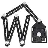 Chanhan, misuratore angolare, 6 lati, in lega di alluminio, righello multi-angolo, righello multifunzione, con righello di posizionamento