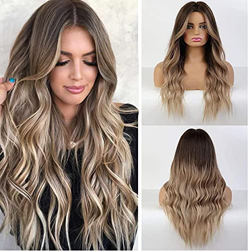 BLONDE UNICORN Ombre Brown Hair Wig Synthetic Long Curly Hair Wigs for Women Middle Part Hair Replacement Wig with Bangs(10/22T85-8)