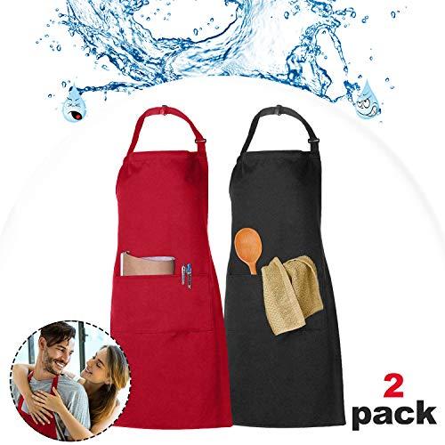 XCOZU 2 Stück Schürze, Wasserdicht Schürzen Kochschürze Männer Damen Schwarz Rot Küchenschürze mit 2 Taschen, Schürze Frau Mann Latzschürzen Gastronomie Grillschürze Verstellbarem Nackenband
