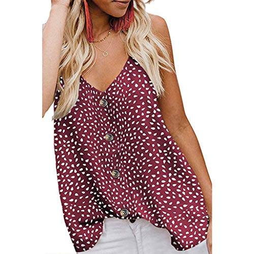 TUDUZ Camisetas sin Mangas de Verano Camisas Mujer Fiesta Cuello en V Botón Blusa de Tirantes Eslinga Punto y Hoja Camisa Impresa Corbata Teñida