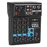 Mixer Bluetooth portatile, console DJ per la casa karaoke USB Live Stage KTV, mixer Bluetooth a 4 canali professionale di miscelazione audio DJ console con effetto riverbero