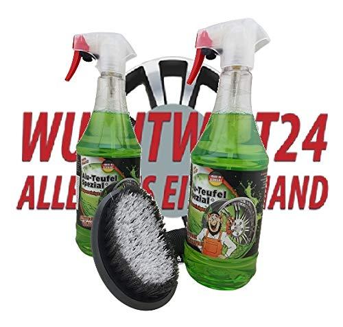 LELUX 2 limpiadores de llantas Alu Teufel Spezial + cepillo para llantas y neumáticos